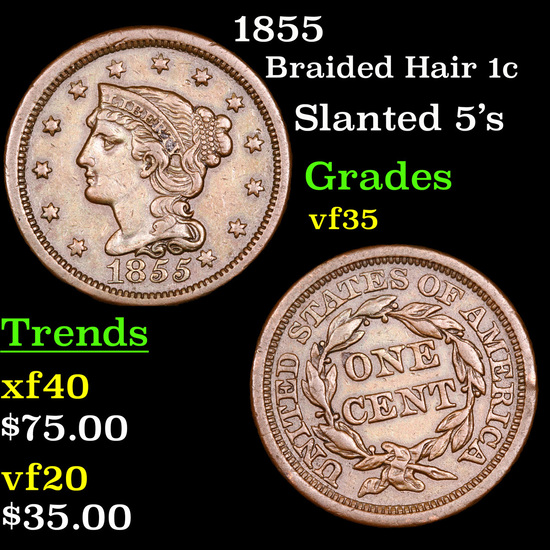1855 Braided Hair Large Cent 1c Grades vf++