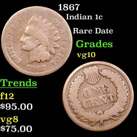 1867 Indian Cent 1c Grades vg+