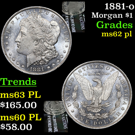 1881-o Morgan Dollar $1 Grades Select Unc PL