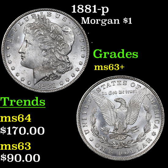 1881-p Morgan Dollar $1 Grades Select+ Unc