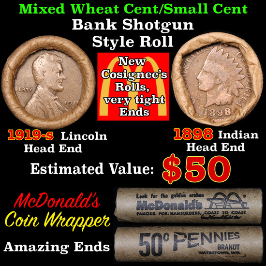 Mixed small cents 1c orig shotgun roll, 1919-s Wheat Cent, 1898 Indian Cent other end