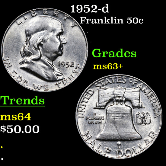1952-d Franklin Half Dollar 50c Grades Select+ Unc