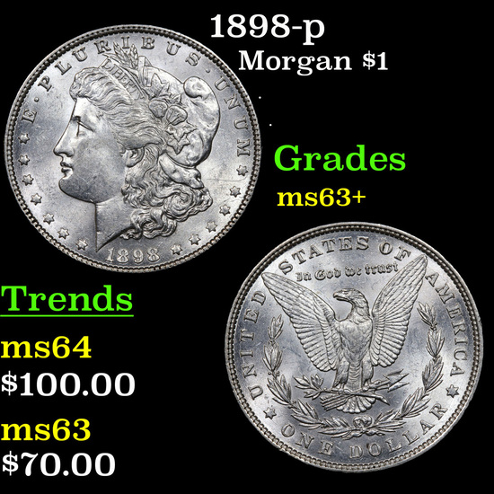 1898-p Morgan Dollar $1 Grades Select+ Unc