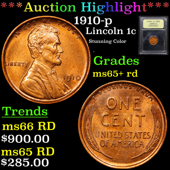 ***Auction Highlight*** 1910-p Lincoln Cent 1c Graded Gem+ Unc RD By USCG (fc)