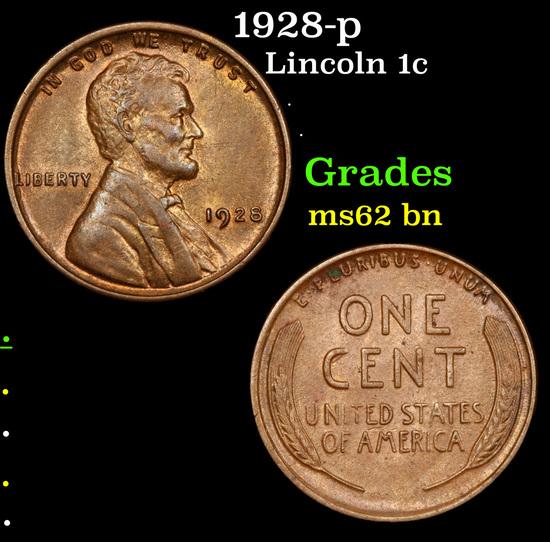 1928-p Lincoln Cent 1c Grades Select Unc BN