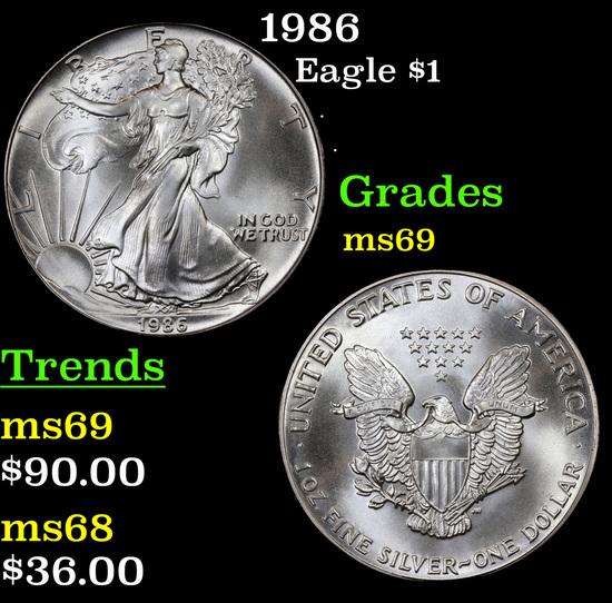 1986 Silver Eagle Dollar $1 Grades ms69