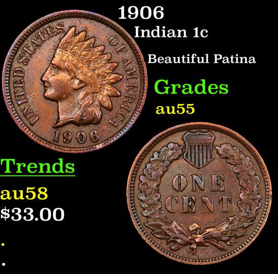 1906 Indian Cent 1c Grades Choice AU