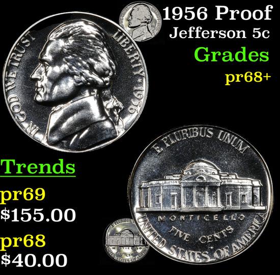 1956 Proof Jefferson Nickel 5c Grades GEM++ Proof