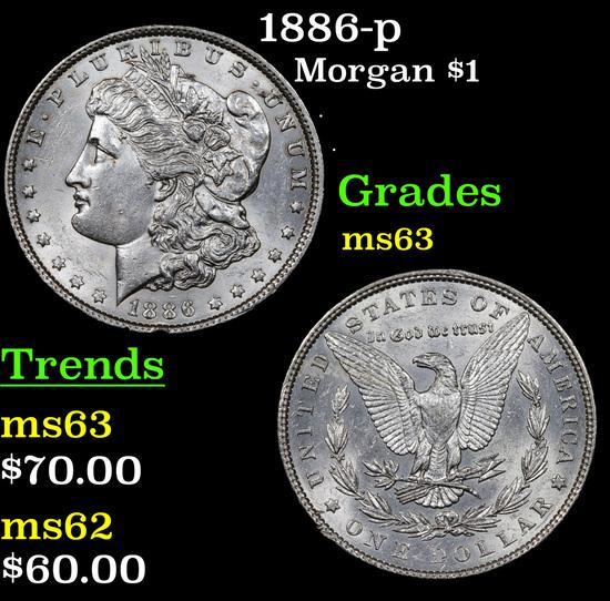 1886-p Morgan Dollar $1 Grades Select Unc