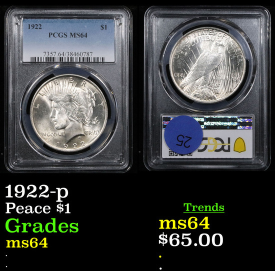 PCGS 1922-p Peace Dollar $1 Graded ms64 By PCGS