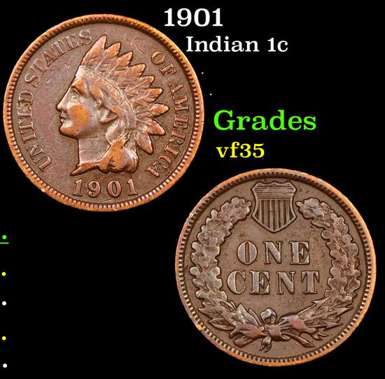 1901 Indian Cent 1c Grades vf++