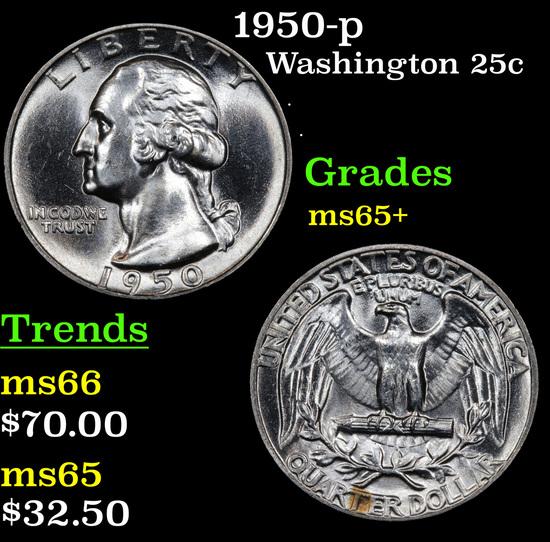 1950-p Washington Quarter 25c Grades GEM+ Unc