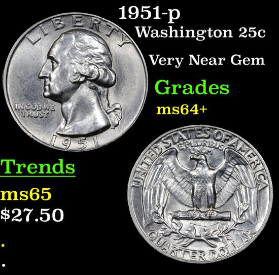 1951-p Washington Quarter 25c Grades Choice+ Unc