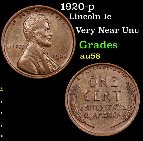 1920-p Lincoln Cent 1c Grades Choice AU/BU Slider