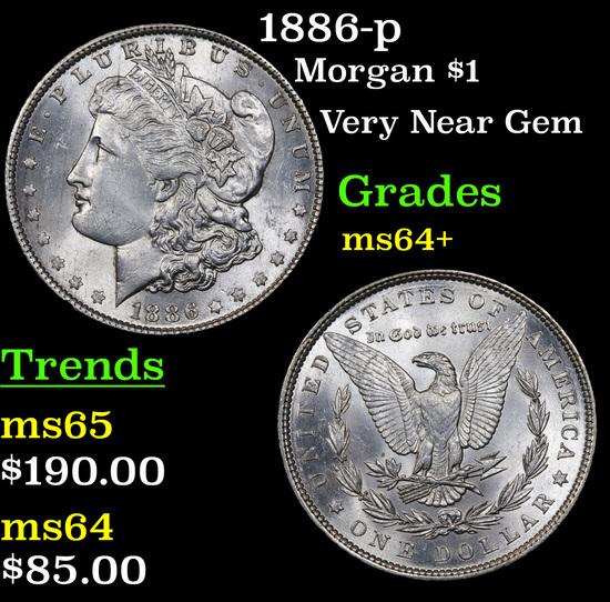 1886-p Morgan Dollar $1 Grades Choice+ Unc