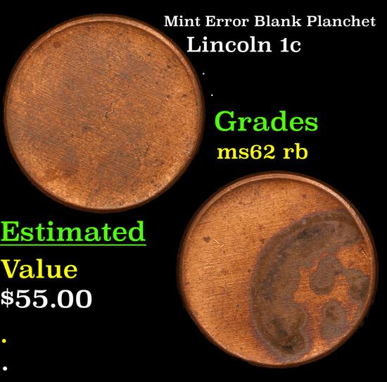 Mint Error Blank Planchet Lincoln Cent 1c Grades Select Unc RB
