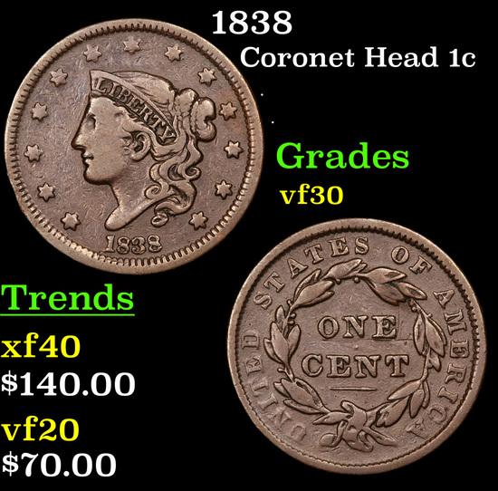 1838 Coronet Head Large Cent 1c Grades vf++