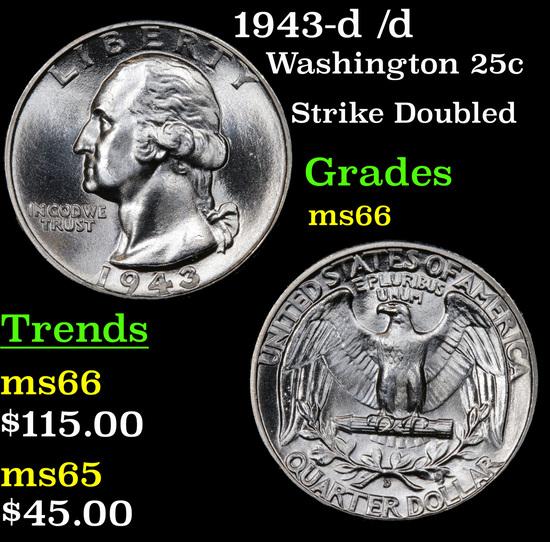 1943-d /d Washington Quarter 25c Grades GEM+ Unc