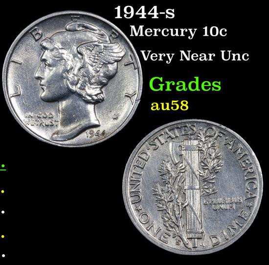 1944-s Mercury Dime 10c Grades Choice AU/BU Slider