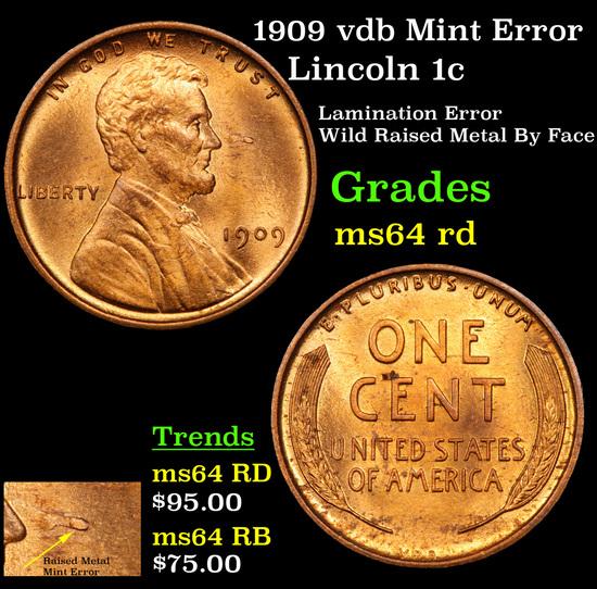 1909 vdb Mint Error Lincoln Cent 1c Grades Choice Unc RD