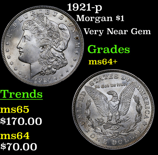 1921-p Morgan Dollar $1 Grades Choice+ Unc