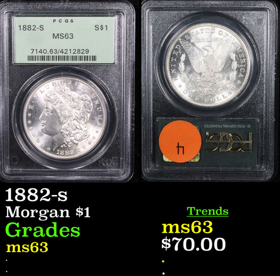 PCGS 1882-s Morgan Dollar $1 Graded ms63 By PCGS