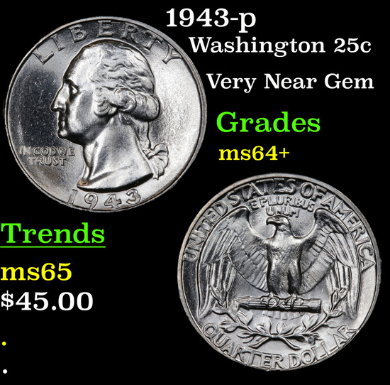 1943-p Washington Quarter 25c Grades Choice+ Unc