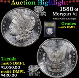 ***Auction Highlight*** 1880-s Morgan Dollar $1 Graded GEM Unc DMPL By USCG (fc)