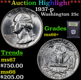 ***Auction Highlight*** 1937-p Washington Quarter 25c Graded GEM++ Unc By USCG (fc)