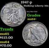 1947-p Walking Liberty Half Dollar 50c Grades Choice+ Unc