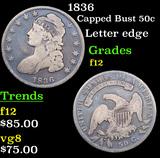 1836 Capped Bust Half Dollar 50c Grades f, fine
