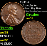 1911-s Lincoln Cent 1c Grades Choice AU