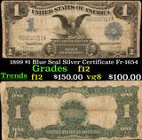 1899 $1 Blue Seal Silver Certificate Fr-1654 Grades f, fine