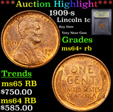 ***Auction Highlight*** 1909-s Lincoln Cent 1c Graded Choice+ Unc RB By USCG (fc)