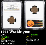 NGC 1863 Washington Civil War Token 1c Graded au53 By NGC
