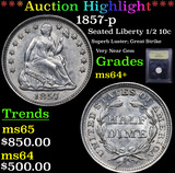 ***Auction Highlight*** 1857-p Seated Liberty Half Dime 1/2 10c Graded Choice+ Unc By USCG (fc)