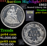 ***Auction Highlight*** 1862 Seated Liberty Dime 10c Graded Select+ Proof Cameo By USCG (fc)
