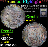 ***Auction Highlight*** 1896-p Rainbow Toned Morgan Dollar $1 Graded GEM++ Unc By USCG (fc)