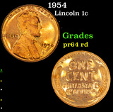 1954 Lincoln Cent 1c Grades Choice Proof Red