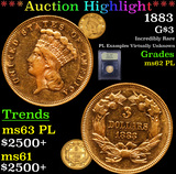 ***Auction Highlight*** 1883 Three Dollar Gold .$3 Graded Select Unc PL By USCG (fc)
