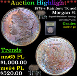 ***Auction Highlight*** 1878-s Rainbow Toned Morgan Dollar $1 Graded Choice Unc+ PL By USCG (fc)