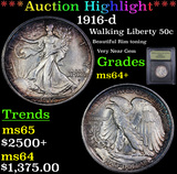 ***Auction Highlight*** 1916-d Walking Liberty Half Dollar 50c Graded Choice+ Unc By USCG (fc)