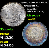 1901-o Rainbow Toned Morgan Dollar $1 Grades Select Unc