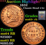 ***Auction Highlight*** 1832 Classic Head half cent 1/2c Graded Select+ Unc RB By USCG (fc)