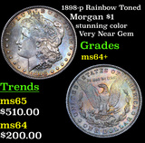 1898-p Rainbow Toned Morgan Dollar $1 Grades Choice+ Unc