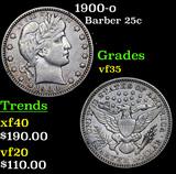 1900-o Barber Quarter 25c Grades vf++