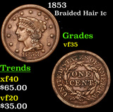 1853 Braided Hair Large Cent 1c Grades vf++