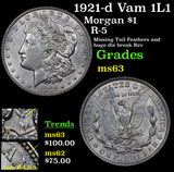 1921-d Vam 1L1 Morgan Dollar $1 Grades Select Unc