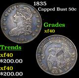 1835 Capped Bust Half Dollar 50c Grades xf