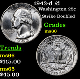 1943-d /d Washington Quarter 25c Grades GEM+ Unc